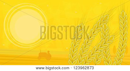 Silhouette of a farmer driving a tractor in the field and stock of wheat in the foreground. Eps10