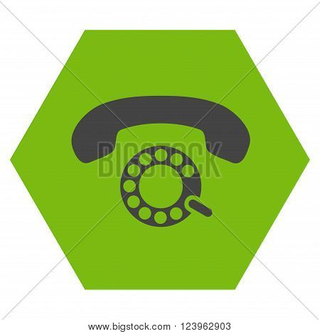 Pulse Dialing vector symbol. Image style is bicolor flat pulse dialing pictogram symbol drawn on a hexagon with eco green and gray colors.