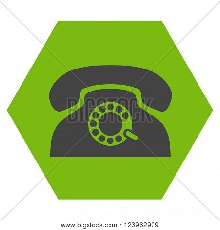 Pulse Phone vector icon. Image style is bicolor flat pulse phone pictogram symbol drawn on a hexagon with eco green and gray colors.