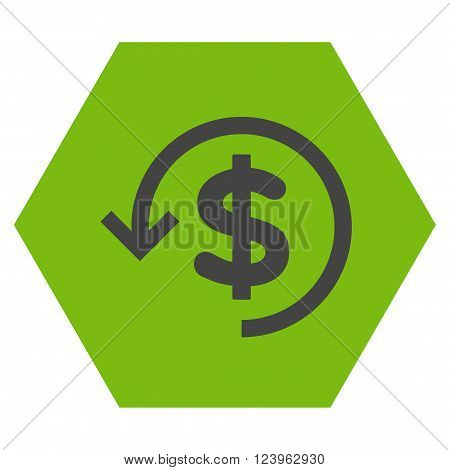 Refund vector symbol. Image style is bicolor flat refund icon symbol drawn on a hexagon with eco green and gray colors.