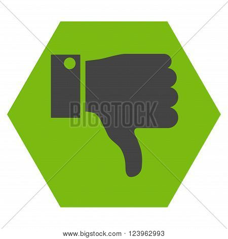 Thumb Down vector symbol. Image style is bicolor flat thumb down icon symbol drawn on a hexagon with eco green and gray colors.