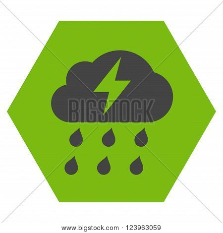 Thunderstorm vector symbol. Image style is bicolor flat thunderstorm icon symbol drawn on a hexagon with eco green and gray colors.