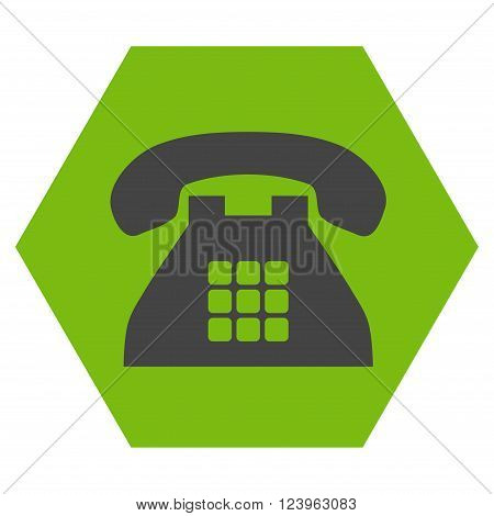 Tone Phone vector pictogram. Image style is bicolor flat tone phone icon symbol drawn on a hexagon with eco green and gray colors.
