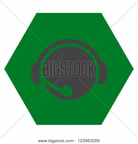 Call Center Operator vector icon. Image style is bicolor flat call center operator iconic symbol drawn on a hexagon with green and gray colors.
