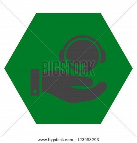Call Center Service vector icon. Image style is bicolor flat call center service pictogram symbol drawn on a hexagon with green and gray colors.