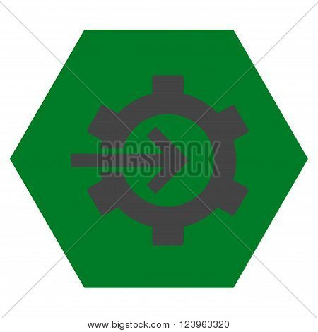 Cog Integration vector symbol. Image style is bicolor flat cog integration icon symbol drawn on a hexagon with green and gray colors.
