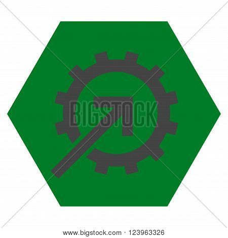 Cog Integration vector icon symbol. Image style is bicolor flat cog integration icon symbol drawn on a hexagon with green and gray colors.
