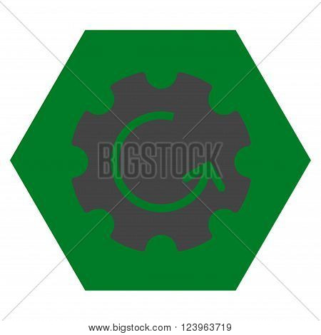 Gear Rotation vector icon. Image style is bicolor flat gear rotation pictogram symbol drawn on a hexagon with green and gray colors.