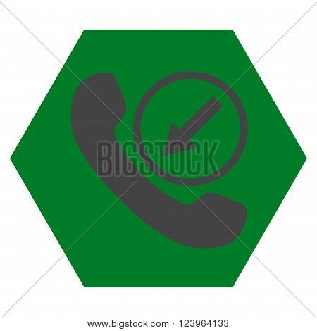 Incoming Call vector symbol. Image style is bicolor flat incoming call icon symbol drawn on a hexagon with green and gray colors.