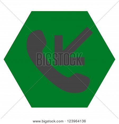 Incoming Call vector icon symbol. Image style is bicolor flat incoming call icon symbol drawn on a hexagon with green and gray colors.