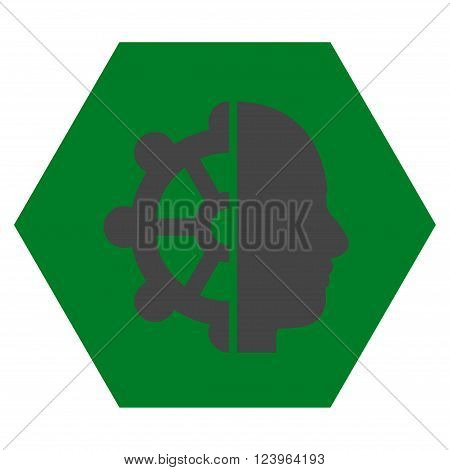 Intellect vector icon. Image style is bicolor flat intellect icon symbol drawn on a hexagon with green and gray colors.
