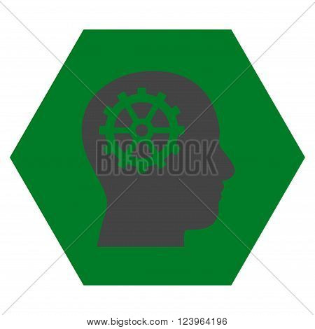 Intellect vector symbol. Image style is bicolor flat intellect icon symbol drawn on a hexagon with green and gray colors.