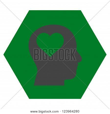 Lover Head vector symbol. Image style is bicolor flat lover head pictogram symbol drawn on a hexagon with green and gray colors.