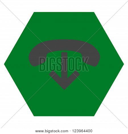 Phone Hang Up vector icon. Image style is bicolor flat phone hang up pictogram symbol drawn on a hexagon with green and gray colors.