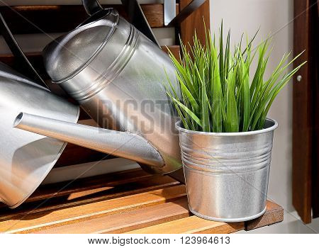 Metal Watering Can or Watering Pot with Green Plants Watering Can Used to Water Plants by Hand.