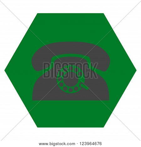 Pulse Phone vector icon. Image style is bicolor flat pulse phone pictogram symbol drawn on a hexagon with green and gray colors.