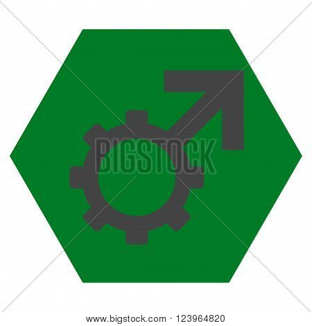 Technological Potence vector icon. Image style is bicolor flat technological potence pictogram symbol drawn on a hexagon with green and gray colors.