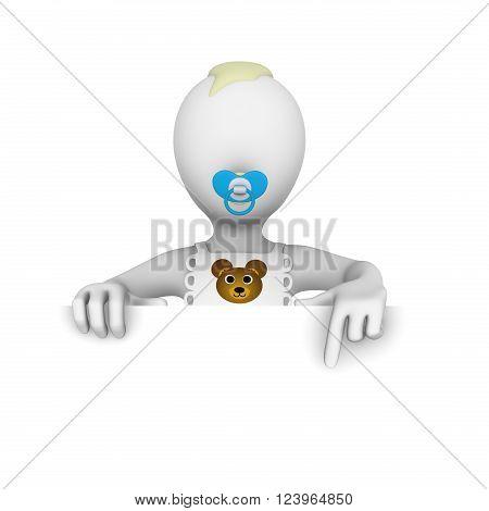 3d baby boy. Blank billboard. 3d illustration.