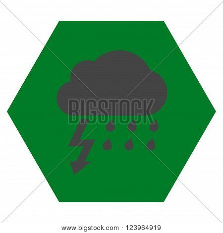 Thunderstorm vector pictogram. Image style is bicolor flat thunderstorm iconic symbol drawn on a hexagon with green and gray colors.