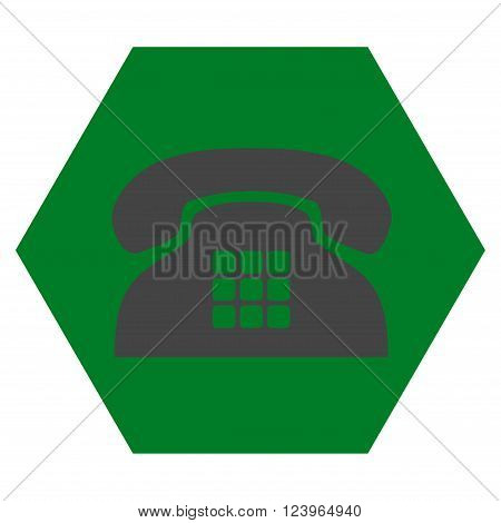 Tone Phone vector pictogram. Image style is bicolor flat tone phone pictogram symbol drawn on a hexagon with green and gray colors.