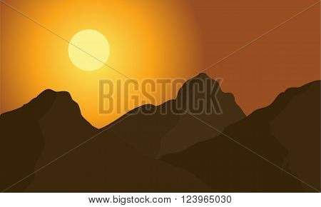 Hight mountain of silhouette at the morning