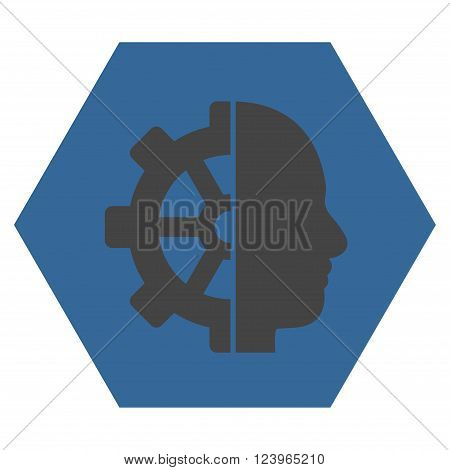 Cyborg Gear vector pictogram. Image style is bicolor flat cyborg gear icon symbol drawn on a hexagon with cobalt and gray colors.