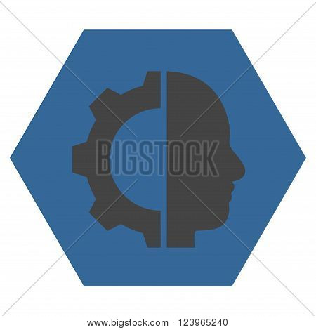 Cyborg Gear vector pictogram. Image style is bicolor flat cyborg gear pictogram symbol drawn on a hexagon with cobalt and gray colors.