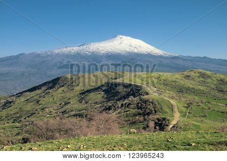 snovy volcano Etna from Nebrodi Park, Sicily