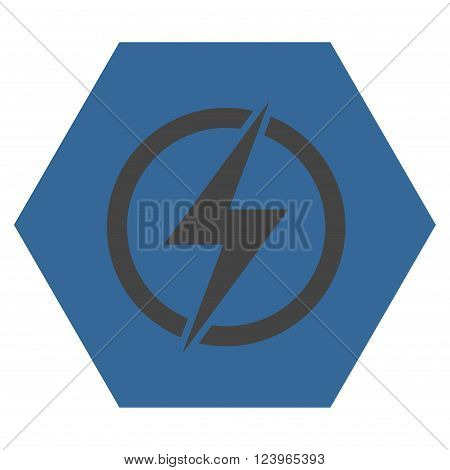 Electricity vector pictogram. Image style is bicolor flat electricity icon symbol drawn on a hexagon with cobalt and gray colors.