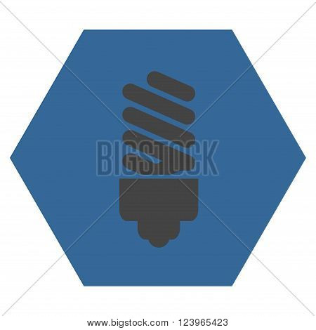 Fluorescent Bulb vector icon symbol. Image style is bicolor flat fluorescent bulb icon symbol drawn on a hexagon with cobalt and gray colors.