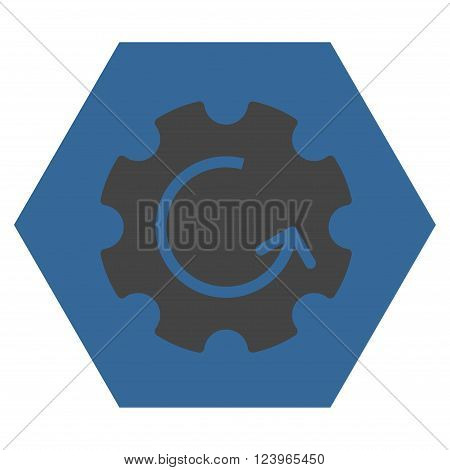 Gear Rotation vector icon symbol. Image style is bicolor flat gear rotation pictogram symbol drawn on a hexagon with cobalt and gray colors.