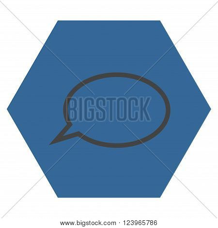 Hint Cloud vector icon. Image style is bicolor flat hint cloud icon symbol drawn on a hexagon with cobalt and gray colors.