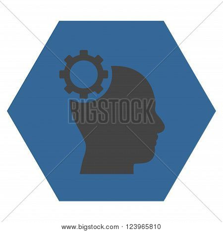 Intellect Gear vector symbol. Image style is bicolor flat intellect gear iconic symbol drawn on a hexagon with cobalt and gray colors.