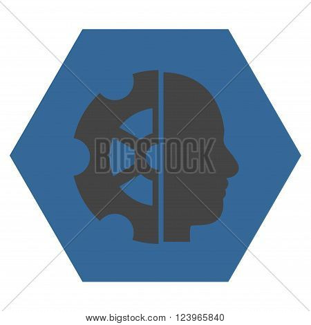 Intellect vector icon. Image style is bicolor flat intellect pictogram symbol drawn on a hexagon with cobalt and gray colors.