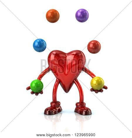Cartoon Heart Character Juggles With A Balls