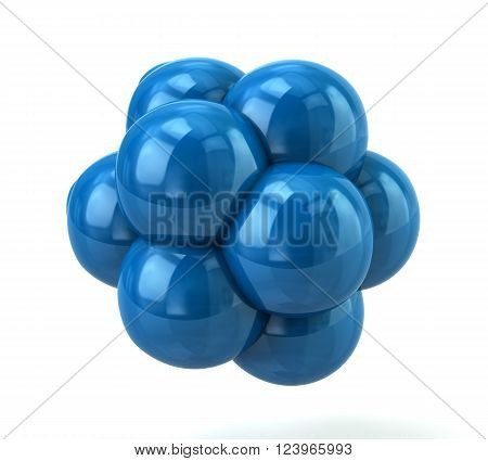 3d illustration of blue molecule isolated on white background