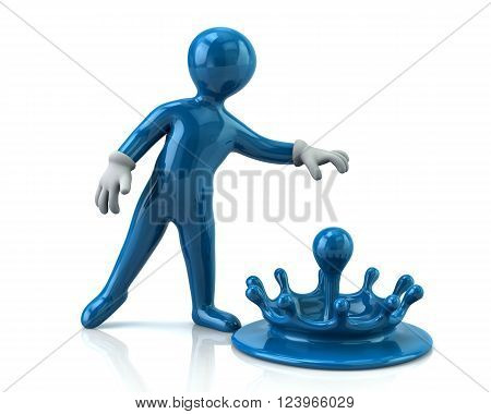 Illustration Of Blue Man And Splashes