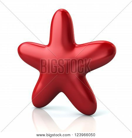 Shiny red star isolated on white background