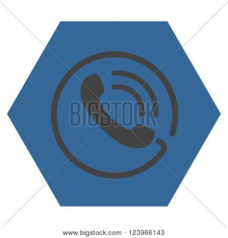 Phone Call vector icon. Image style is bicolor flat phone call iconic symbol drawn on a hexagon with cobalt and gray colors.