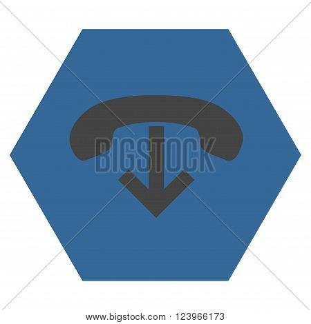 Phone Hang Up vector icon. Image style is bicolor flat phone hang up pictogram symbol drawn on a hexagon with cobalt and gray colors.