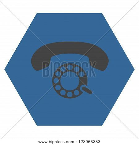 Pulse Dialing vector icon symbol. Image style is bicolor flat pulse dialing pictogram symbol drawn on a hexagon with cobalt and gray colors.