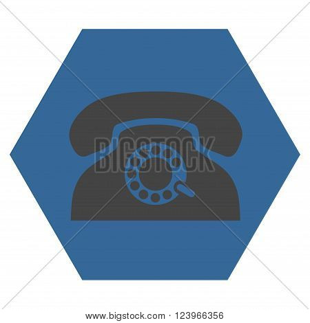 Pulse Phone vector symbol. Image style is bicolor flat pulse phone pictogram symbol drawn on a hexagon with cobalt and gray colors.