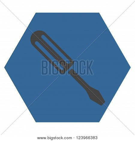 Screwdriver vector icon symbol. Image style is bicolor flat screwdriver icon symbol drawn on a hexagon with cobalt and gray colors.
