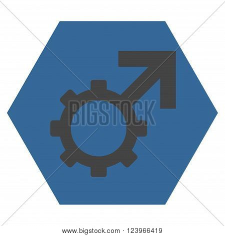 Technological Potence vector pictogram. Image style is bicolor flat technological potence iconic symbol drawn on a hexagon with cobalt and gray colors.