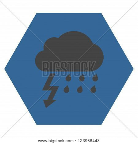 Thunderstorm vector icon symbol. Image style is bicolor flat thunderstorm pictogram symbol drawn on a hexagon with cobalt and gray colors.