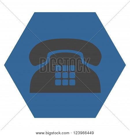 Tone Phone vector symbol. Image style is bicolor flat tone phone icon symbol drawn on a hexagon with cobalt and gray colors.