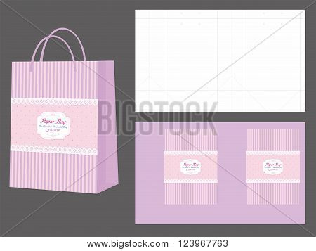 Minimalist Pink and Purple Shopping Bag and Die Cut