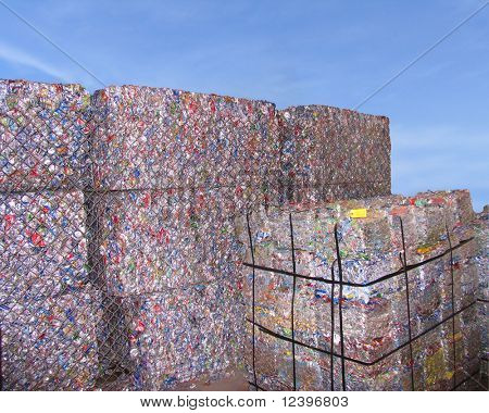 stacks of scrap packing over  blue sky