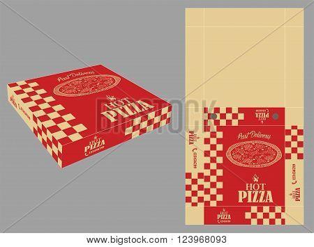 Square Pizza Box Template and Single Color Design