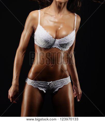 Perfect sexy women in white underwear - studio shot